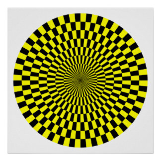 Op Art Wheel - Yellow and Black Poster