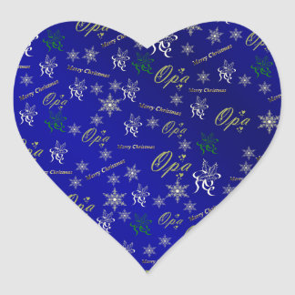 opa happy christmas text in gold and blue heart sticker