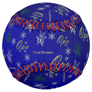 opa happy christmas text in gold and blue softball