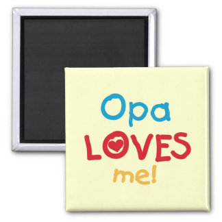 Opa Loves Me T-shirts and Gifts 2 Inch Square Magnet