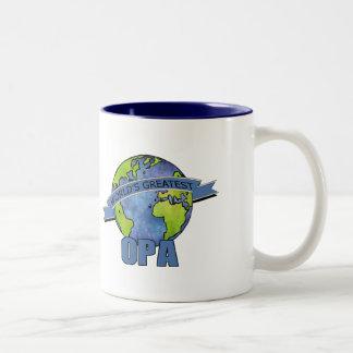 Opa más grande del mundo taza de café de dos colores