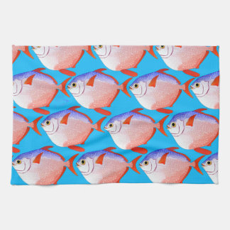 opah pattern in blue hand towels