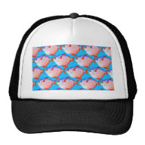 opah pattern in blue trucker hat