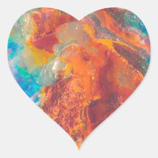 Opal Agate Marble Slab Heart Sticker