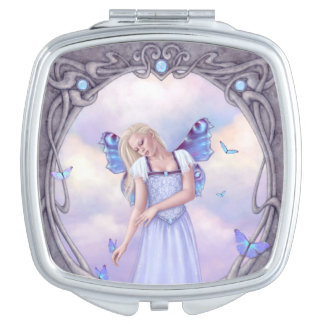 Opal Birthstone Fairy Square Compact Mirror