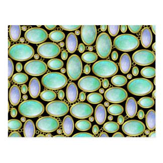 Opal Brooch Gem Gemstone Turquoise Pattern Postcard