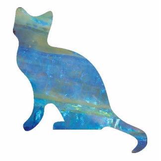 Opal Cat Jewelry Pin Photo Sculpture Button
