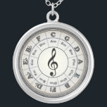 """Opal Circle of Fifths - another version Silver Plated Necklace<br><div class=""""desc"""">Treble (or G) Clef in the center.  A black graphic on an opal-like background. Somewhat vintage like..</div>"""