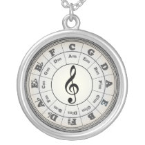 Opal Circle of Fifths - another version Silver Plated Necklace