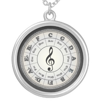 Opal Circle of Fifths Round Pendant Necklace
