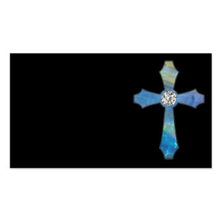 Opal & Diamond Jewel Cross Black Business Cards
