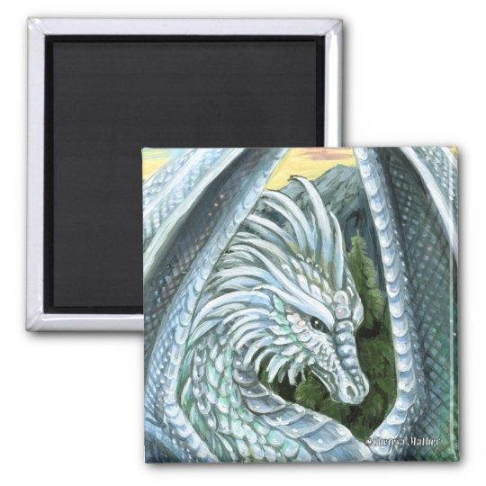 Opal Dragon Square Magnet