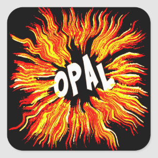 Opal Name Star on Fire Square Sticker