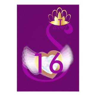 Opal Purple Swan Sweet Sixteen-Customize Custom Announcements