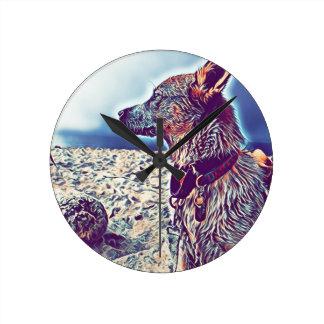 Opal the Beach Bum Heeler Round Clock