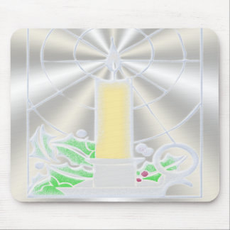 Opalescent Christmas Candle Mousepads