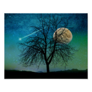 Opalescent Sky print shooting star, moonlit tree