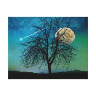 Opalescent Sky, tree, harvest moon, shooting star Stretched Canvas Prints