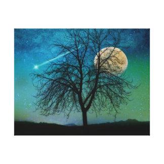 Opalescent Sky, tree, harvest moon, shooting star Canvas Print