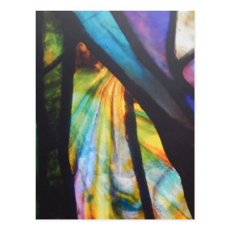 Opalescent Stained Glass Design Postcard