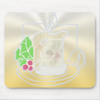 Opalescent Yellow Christmas Candle 2 Mousepad