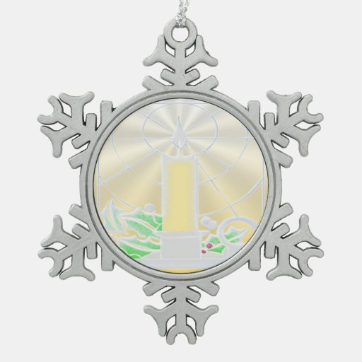 Opalescent Yellow Christmas Candle Snowflake Pewter Christmas Ornament