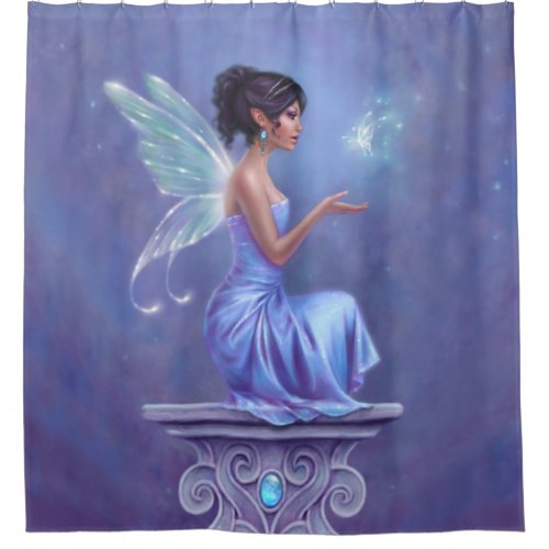 Opalite Fairy & Blue Butterfly Shower Curtain