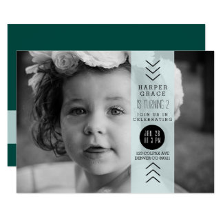 Opaque Blue Band Birthday Party Photo Card