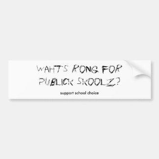 Opción de la escuela de la ayuda etiqueta de parachoque