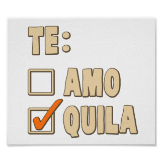 Opción del español del Tequila de Te Amo Póster