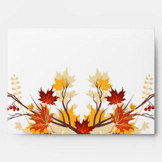 opción del sobre 5x7 2 hojas de la rama del otoño