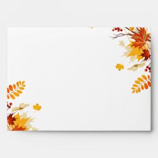 opción del sobre 5x7 4 hojas de la rama del otoño