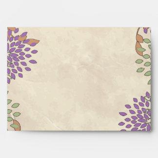 opción floral púrpura y verde de 3 del sobre 5x7