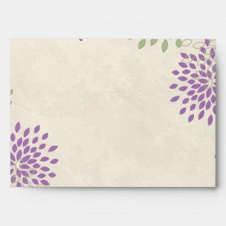opción floral púrpura y verde de 4 del sobre 5x7