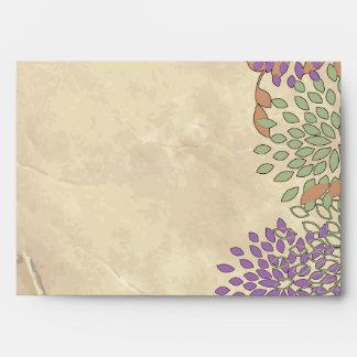 opción floral púrpura y verde de 5 del sobre 5x7
