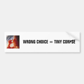 Opción incorrecta = cadáver minúsculo (3) etiqueta de parachoque