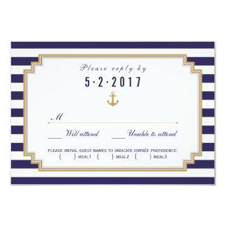 """Opción náutica elegante de la comida de la tarjeta invitación 3.5"""" x 5"""""""