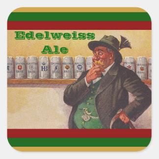 Opciones alpinas del gorra de Edelweiss del brew Pegatina Cuadrada