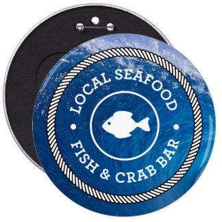Opciones locales de los botones de los mariscos 1 pin redondo de 6 pulgadas