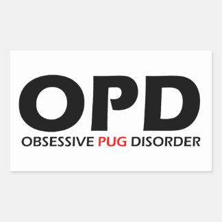 OPD - Obsessive Pug Disorder Rectangular Sticker