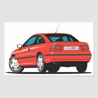 Opel Calibra red back Rectangular Sticker