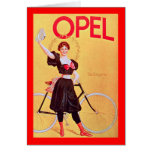 Opel - poster Art (1900) de la bicicleta del vinta Tarjeta