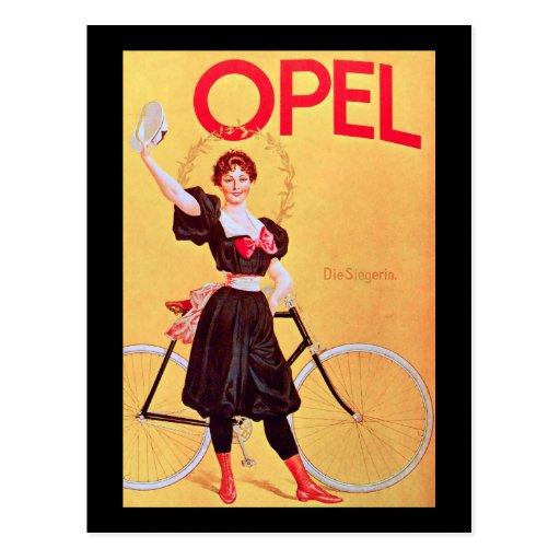 Opel - Vintage Bicycle Poster Art ( 1900 ) Postcard