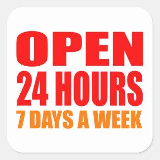 Open 24 Hours Square Sticker