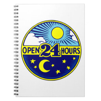 Open 24 Hours Sun and Moon Notebook