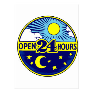 Open 24 Hours Sun and Moon Postcard