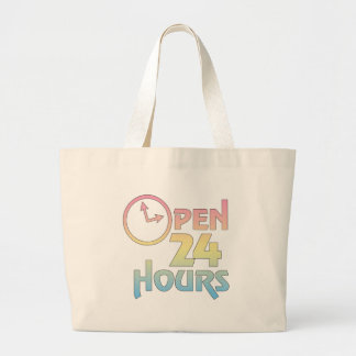 Open 24 Hours Tote Bag