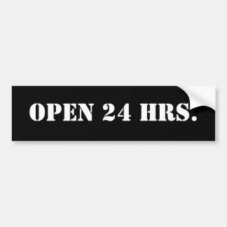 OPEN 24 HRS. BUMPER STICKER