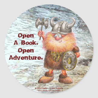 Open A Book.  Open Adventure. Classic Round Sticker
