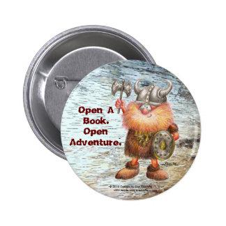 Open A Book.  Open Adventure. Pinback Button